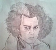 Portaits Drawings - Sweeney Todd by Manasa Patapatnam