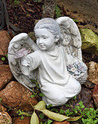 Sculpture Art Prints - Sweet Adoring Angel Print by Linda Phelps