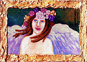 Flower Pink Fairy Child Painting Metal Prints - Sweet Angel Metal Print by Genevieve Esson