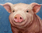Piglet Paintings - Sweet Baby Pig Portrait by Dottie Dracos