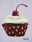 Maraschino Prints - Sweet Cherry Cupcake Print by Kayleigh Semeniuk