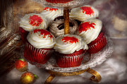 Tray Prints - Sweet - Cupcake - Red velvet cupcakes  Print by Mike Savad