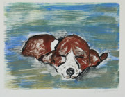 Puppy Mixed Media Originals - Sweet Dreams by Cori Solomon