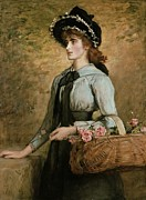 Flower Basket Framed Prints - Sweet Emma Morland Framed Print by Sir John Everett Millais