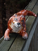 Marine Ceramics - Sweet Faced Otter Sculpture by Debbie Limoli