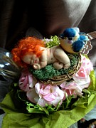 Baby Bird Sculpture Prints - Sweet Fairy Baby Tangerine Print by TriyaandNora Sculpts