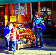 Fruit Stand Paintings - Sweet Figs Berries And Nectarines Farmers Market Fruit Stands Marche Jean Talon Urban Scenes Carole  by Carole Spandau