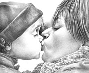 Nursery Drawings Prints - Sweet Kiss Print by Natasha Denger
