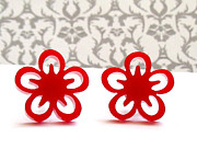 Laser Cut Jewelry - Sweet little red flowers stud earrings by Rony Bank