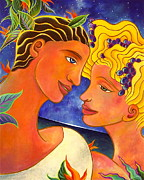 Blessings Paintings - Sweet Lovers by Gem J Shimada