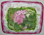 Hand Embroidery Tapestries - Textiles - Sweet Pea Art Quilt by Pam Reed