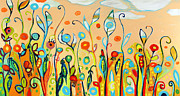 Orange Poppy Paintings - Sweet Peas and Poppies by Jennifer Lommers