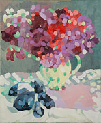 Flower Still Life Posters - Sweet Peas and Seashells Poster by Deborah Barton