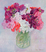 """indoor"" Still Life  Painting Posters - Sweet Peas Poster by Ann Patrick"