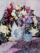 Floral Paintings - Sweet peas in a blue and white jug with blue and white pot and textiles  by Joan Thewsey