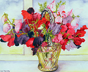 Flower Still Life Posters - Sweet Peas in a Vase Poster by Joan Thewsey
