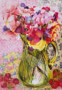Flora Painting Prints - Sweet Peas with Cherries and Strawberries Print by Joan Thewsey