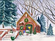 New England Snow Scene Painting Posters - Sweet Pierres Chocolate Shop Poster by Rhonda Leonard