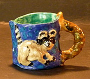 Pottery Pitcher Originals - Sweet Raccoon Pitcher by Debbie Limoli