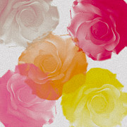 Yelow Prints - Sweet Roses oil digital painting Print by Georgeta Blanaru