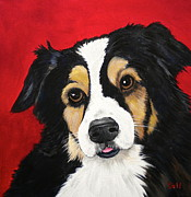 Collie Painting Framed Prints - Sweet Scout Framed Print by Debi Pople