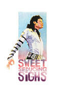 Mj Tribute Art Drawings Posters - Sweet seducing sighs Poster by Lillian Melker