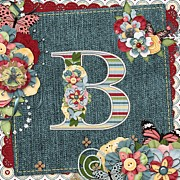 Blue Jeans Posters - Sweet Surprises Monogram Letter  B Poster by Debra  Miller