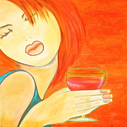Wine Woman  Prints - Sweet Tarte Print by Debi Pople