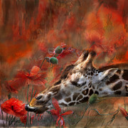 Animal Mixed Media Metal Prints - Sweet Taste Of Spring Metal Print by Carol Cavalaris