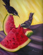 Watermelon Painting Posters - Sweet Teeter-Totter Poster by Ursula Brozovich