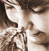 Kitten Drawings - Sweet Touch by Natasha Denger