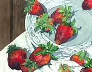 Strawberries Paintings - Sweet Treats by Barbara Jewell