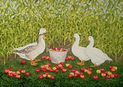 Duck Posters - Sweetcorn Geese Poster by Ditz