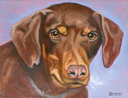 Brown Dog Framed Prints - Sweetest Rescue Framed Print by Susan A Becker