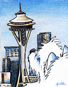 Terrier Dog Drawings Framed Prints - Sweetness In Seattle Framed Print by Kim Niles