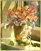 Sweetpea On The Windowsill Print by Julia Rowntree