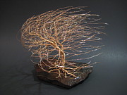 Hand Crafted Mixed Media - Swept Away Wire Tree Sculpture by Ken Phillips