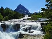 National Mixed Media Prints - Swiftcurrent Falls - Glacier National Park Print by Photography Moments - Sandi