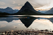 Boating Lake Prints - Swiftcurrent Lake and Kayakers Print by John Daly