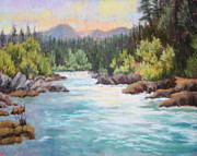 Oregon Pastels Prints - Swiftwater Print by Nancy Jolley