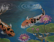 Koi In Water Prints - Swim Print by Jeanmarie DeKleine