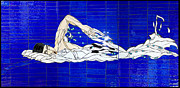 Olympics Glass Art - Swimmer by Kimber Thompson