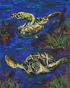 Sea Turtles Paintings - Swimming Buddies by Lovejoy Creations