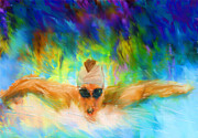Michael Digital Art Posters - Swimming Fast Poster by Lourry Legarde