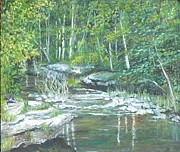 Swimming Hole Paintings - Swimming Hole-Fahnestock by Gloria S Schloss