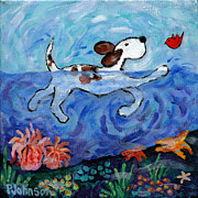 Dog Swimming Paintings - Swimming by Peggy Johnson