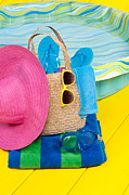Sun Hat Prints - Swimming pool and accessories Print by Joe Belanger