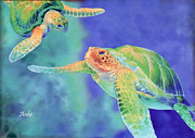 Anke Wheeler Paintings - Swimming Seaturtles by Anke Wheeler