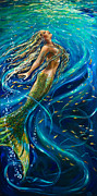 Underwater Diva Metal Prints - Swimming to the Surface Metal Print by Linda Olsen