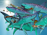 Shark Digital Art Prints - Swimming with the Big Boys Print by Betsy A Cutler East Coast Barrier Islands